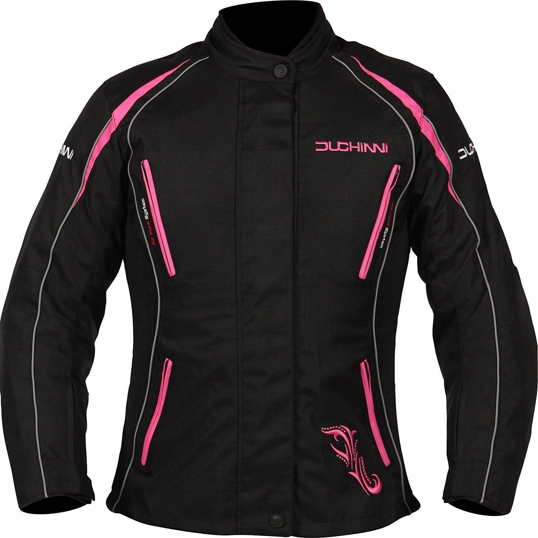 Black//Red, US 12//UK 16 DUCHINNI Womens 4 season Motorcycle Jacket