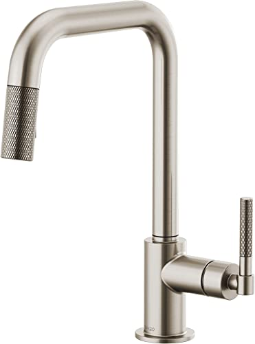 Brizo 63053LF-SS Litze Pull-Down Faucet with Square Spout and Knurled Handle In Stainless Steel