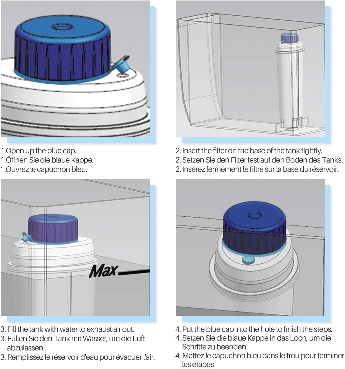 ETAM Serie von everspring inklusive Versionen der ECAM ESAM SER3017 /& 5513292811 Kaffee-Maschine Wasserfilter Kompatibel mit DeLonghi DLSC002