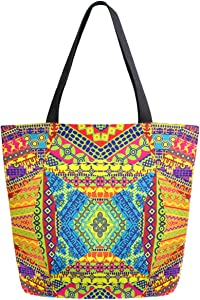 ZzWwR Vintage Ethnic African Pattern Extra Large Canvas Beach Travel Reusable Grocery Shopping Tote Bag Market Portable Storage HandBags
