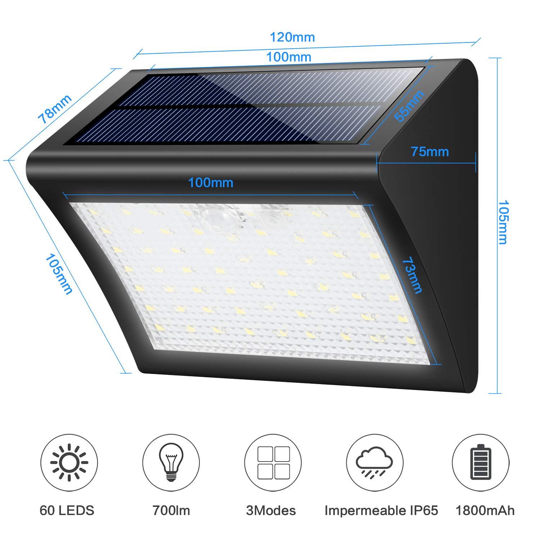 Luces Solares Exterior, Trswyop 60 LED [2 Paquetes] Luz Solar con Sensor Movimiento 1800mAh Wireless Lámpara Solar Impermeables Focos Solares, ...