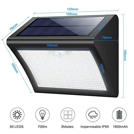 Luces Solares Exterior, Trswyop 60 LED [2 Paquetes] Luz Solar con Sensor Movimiento 1800mAh Wireless Lámpara Solar Impermeables Focos Solares, Luces de ...