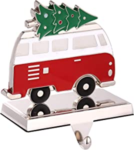 Yuokwer Christmas Stocking Holder for Mantel Cute Bus with Christmas Tree Stocking Hanger Xmas Stocking Hooks Decorative Fireplace Stocking Holder for Mantelpiece Seasonal Decor (Bus)