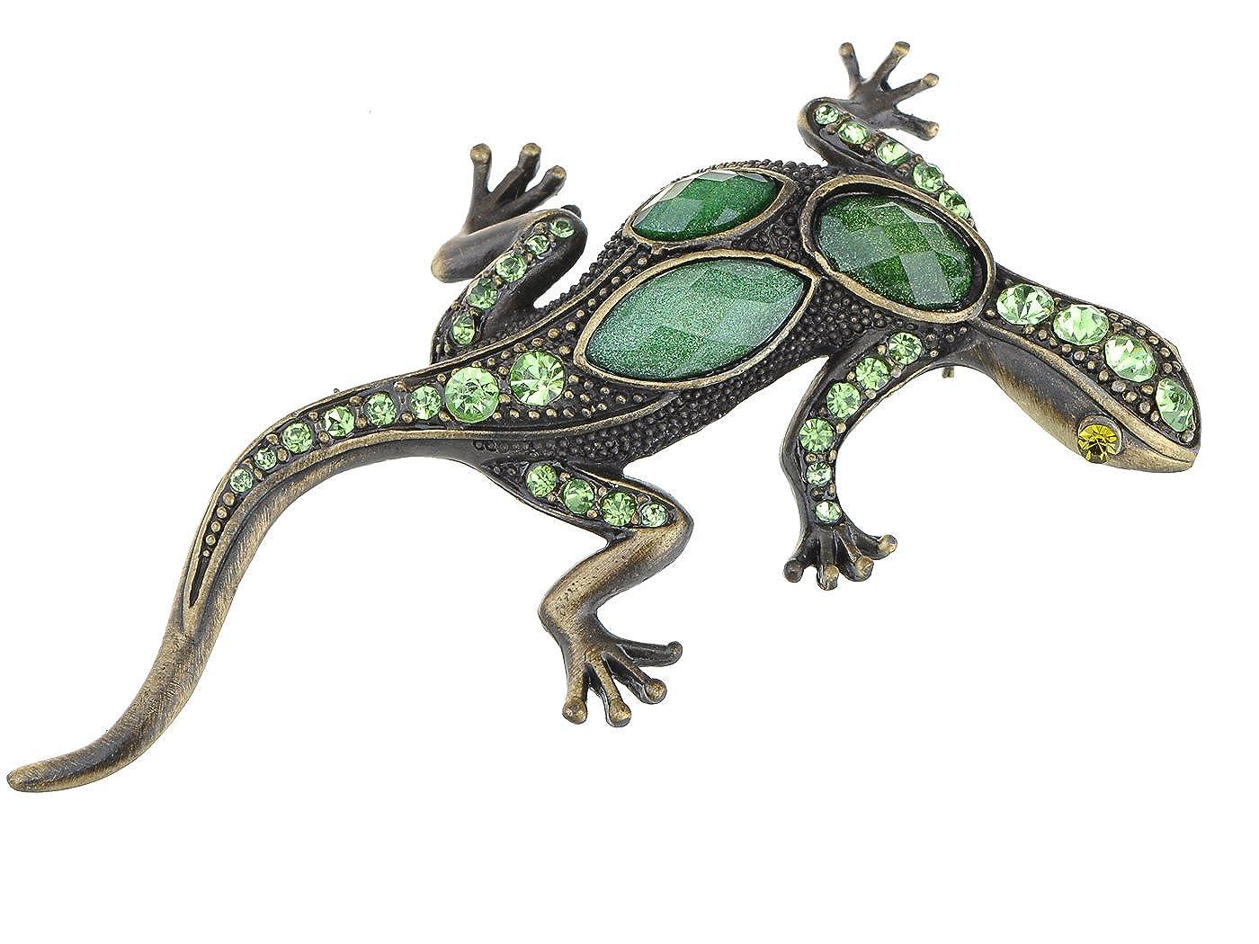 Alilang Gunmetal Tone Green Rhinestones Antique Vintage Inspired Lizard Brooch Pin B0363