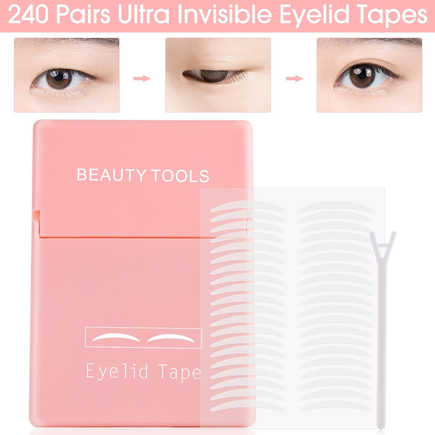 480Pcs/240Pairs Double Eyelid Tape Stickers - Ultra Invisible Breathable Fiber - Instant Eye Lift Without Surgery - Perfect for Hooded, Droopy, Uneven, or Mono-eyelids (M)