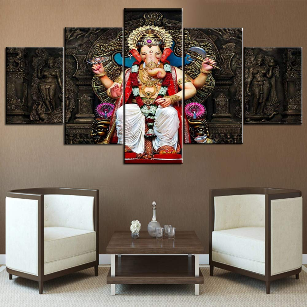 Ganesha Canvas Wall Art Hinduism Religion Pictures For Living Room 5 Piece Artwork Modern Paintings Home Decor Giclee Wooden Framed Gallery Wrapped