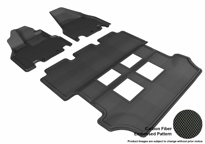 3D MAXpider Complete Set Custom Fit All-Weather Floor Mat for Select Honda Odyssey EX Models Kagu Rubber Black