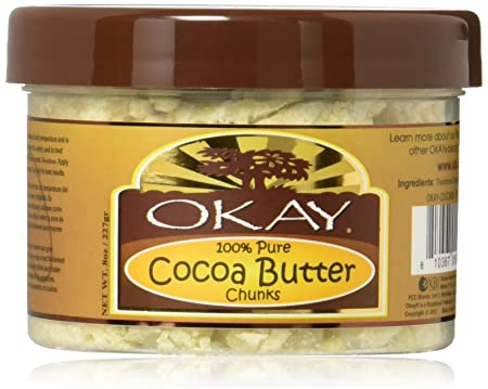 OKAY Cocoa Butter Chunks For All Hair Textures Skin Types Protect – Moisturize – Hydrate Conditioning – Nourishment – Shine 100 Pure 8 oz