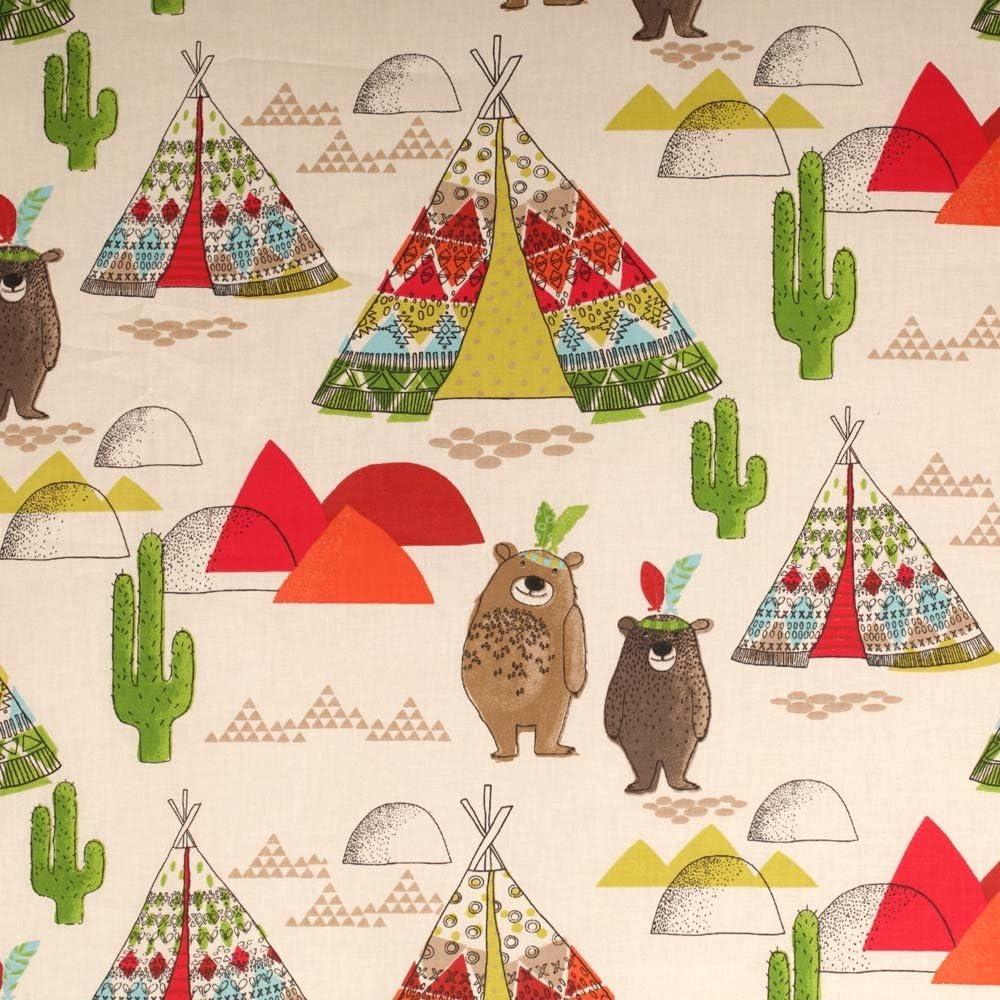 Tela cretona de algodón, diseño infantil de tipi y oso, color ...