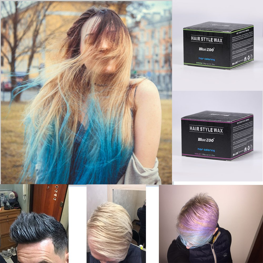 BlueZOO 120g Disposable Temporary Hair Color Pomade Unisex DIY Natural Hairstyle Wax Mud Dye Cream,Easy to Washable by Bluezoo (Image #5)