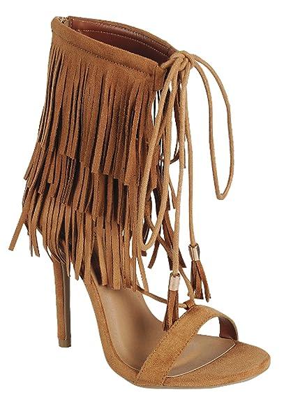 83c888ef257d Nayeli 27 Womens Fringe Open Toe High Heel Sandals Tan 5