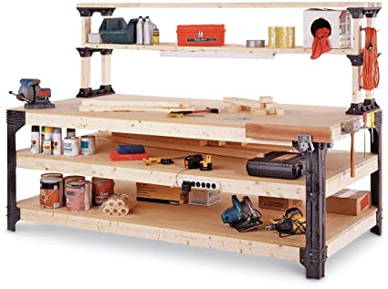 2x4basics 14429 Workbench And Shelving Storage System With Hooks And Clamps