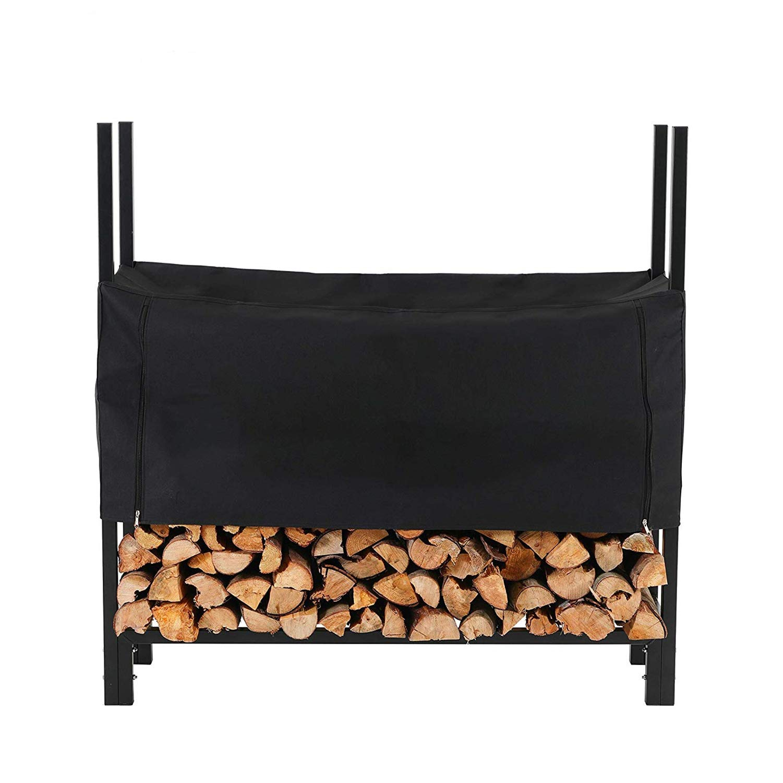 PHI VILLA 4 Feet Heavy Duty Indoor/Outdoor Firewood Racks Steel Wood Storage Log Rack Holder with Cover, Black by PHI VILLA