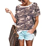 Womens Leopard Print Tops Casual Short Sleeve Tunic Trendy Camo Blouse