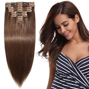 weltweit bekannt Waren des täglichen Bedarfs verschiedene Stile Clip in Extensions Echthaar Remy Haarverlängerung für komplette Haare 8  Tressen Doppelt Dicke 45cm-140g(#4 Schokobraun)