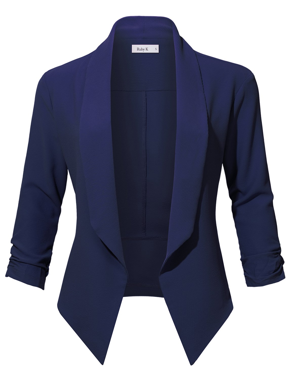 RubyK Womens Casual Office Open Front Ruched 3/4 Sleeve Cardigan Blazer Jacket