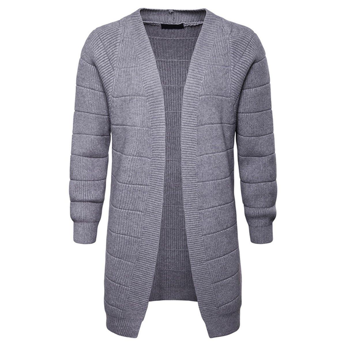 5517395ecb76b Grey Grey Grey AOWOFS Men's Cardigan Knit Stripe Long Sweater Solid color  Buckleless Casual Long Sleeve f56142