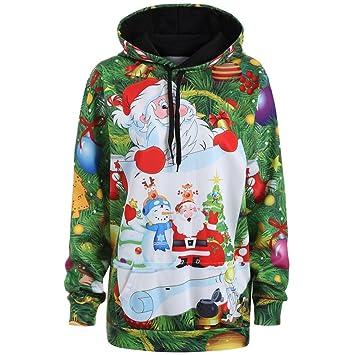 kangrunmy Sudadera Mujer con capucha, Mujeres Navidad Papá Noel Navidad Snowman Sudaderas con capucha Top Sweatershirt Pullover S Verde: Amazon.es: Hogar
