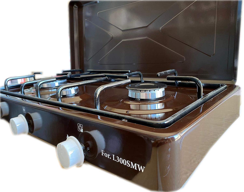 Hornillo de gas GLP para camping, marrón, de 3 fuegos, con válvula de seguridad