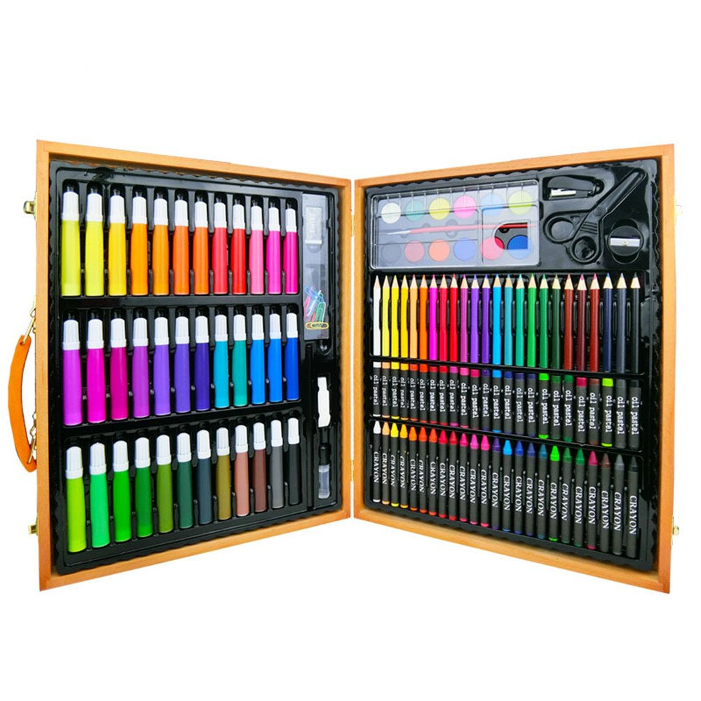 Artist art drawing set, Perfect For Beginner Artist Coloring And Drawing Kits - 150 Pieces Of Wooden Box Art Set For Painting And Drawing Set Art Supplies Pencils. Gifts for children and children. by JIANGXIUQIN (Image #3)