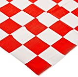 "Party Essentials 54108 Rectangular Heavy Duty Plastic Tablecover, 108"" Length x 54"" Width, Red Checker Print (Case of 24)"