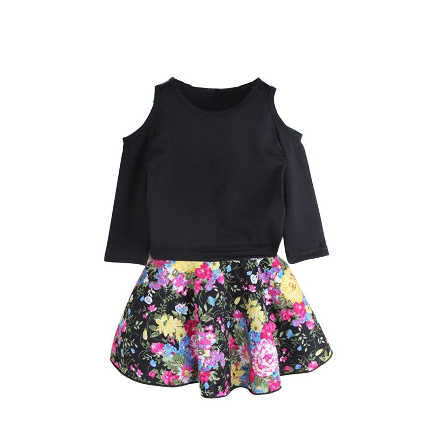 GQMART 1Set Kid Girls Off Shoulder T-Shirt Tops Floral Short Skirt Outfit Clothes