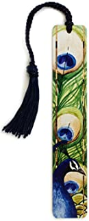 product image for Peacock - Art by Christi Sobel on Solid Wooden Bookmark with Tassel