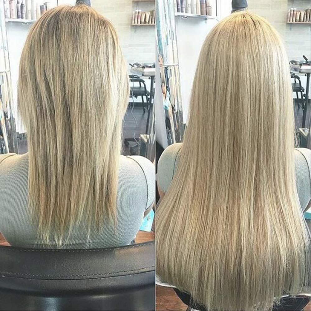 Full Shine Remy Human Hair Mono Hair Topper for Hair Loss 20 Inch Color #60 Platinum Blonde Clip in Hair Toupee Piece 135g Crown Topper Hair Piece Realistic Soft Scalp 6.5x6.5 Base Size by Full Shine (Image #1)