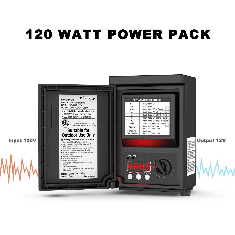 Malibu 120 Watt Power Pack with Sensor and Weather Shield for Low Voltage Landscape Lighting Spotlight Outdoor Transformer 120V Input 12V Output 8100-9120-01 by Malibu C