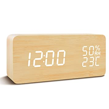 Fibisonic Wecker Digitale Tischuhr Led Datum Feuchtigkeit Temperatur