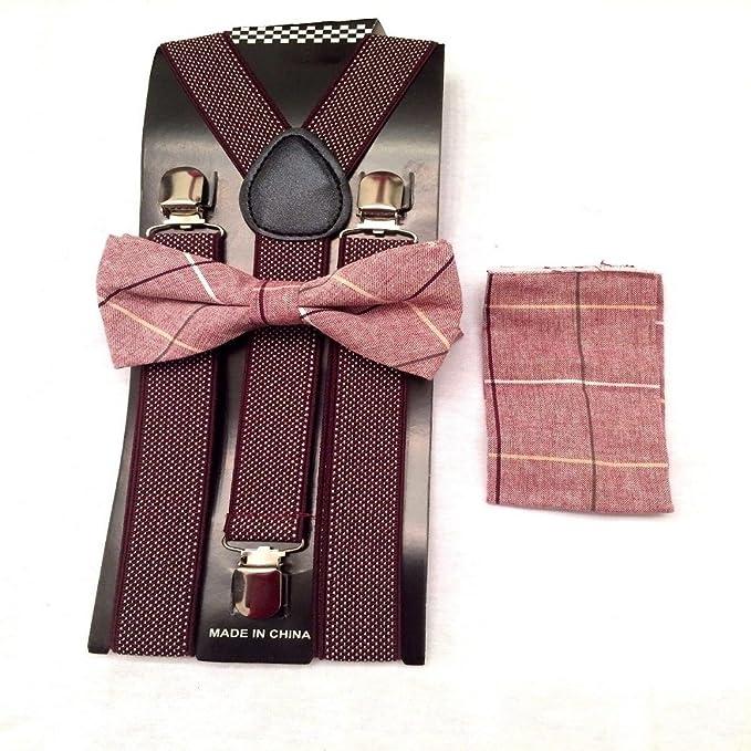 Amazoncom New Burgundy Suspenders Bow Tie Set Tuxedo Wedding
