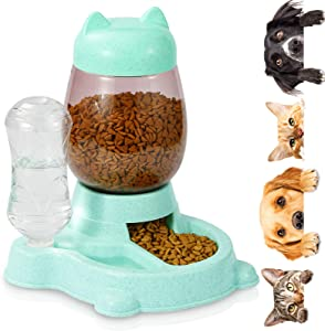 Erebus Dog Automatic Feeder,Food Feeder & Water Dispenser 2 in 1,Hight Quality Plastic Food Bowl & Non Slip Anti Spill Stable Automatic Water Dispenser Pet Food Water Dish for Cat,Dogs,Pets (SkyBlue)