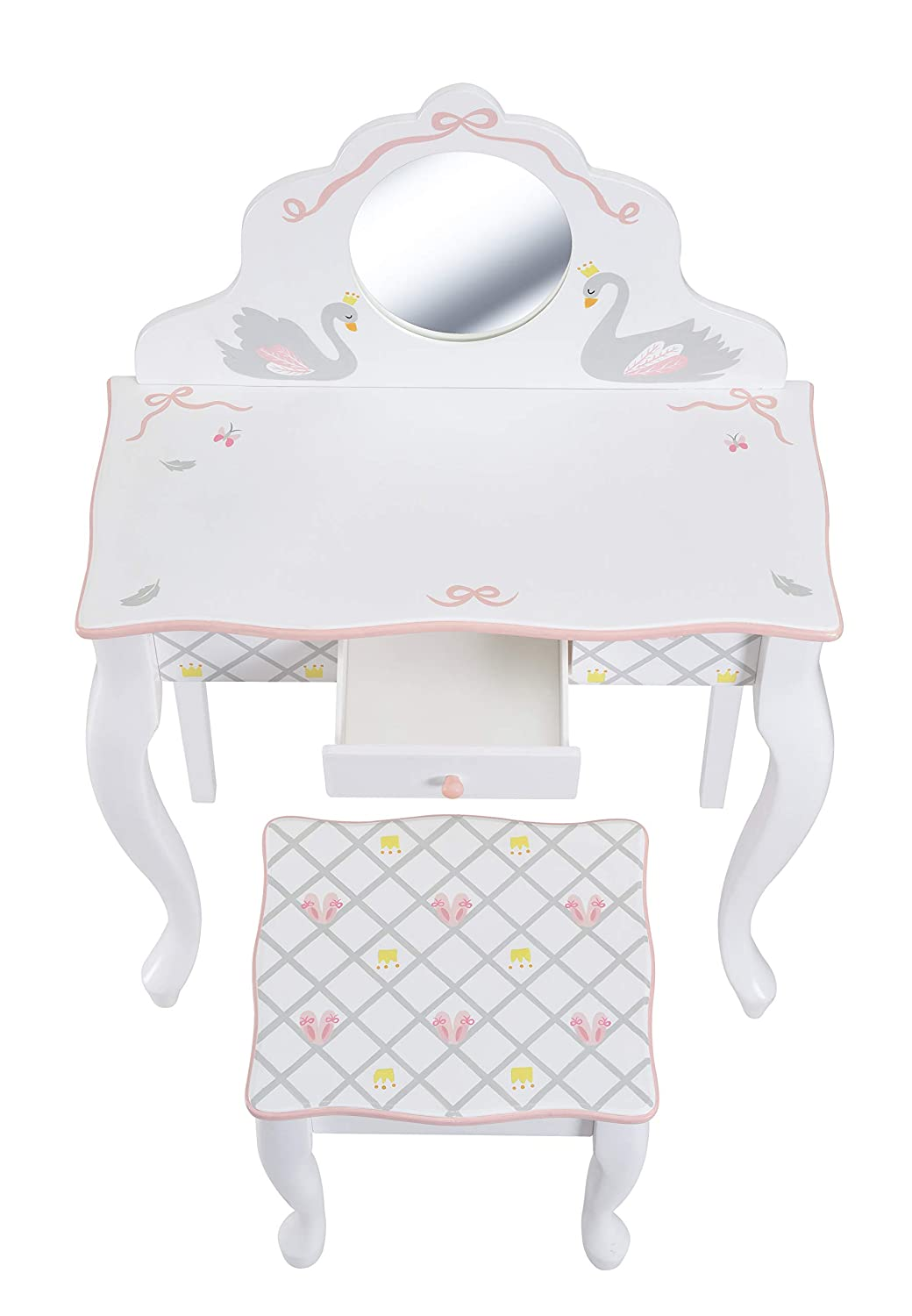 Fantasy Fields TD-12890A Swan Lake Ballerina Vanity Table and Stool Set White//Pink Teamson Design Corp.