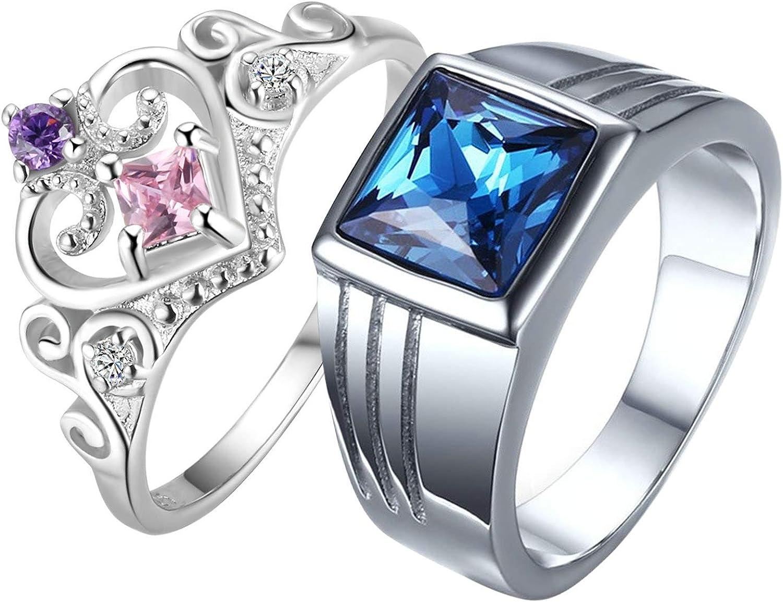 AnazoZ Anillos de Parejas Acero Inoxidable Plata Azul Cuadrado y Corazón Circonita Púrpura Azul Rosa