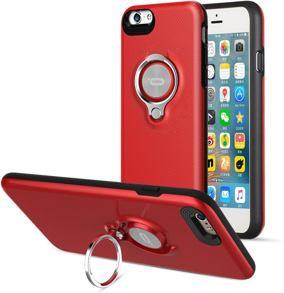 Compatible Phone case for iPhone 6 Plus Case with Ring Kickstand by ICONFLANG, 360 Degree Rotating Ring Grip Case for iPhone 6 Plus Dual Layer Shockproof Impact Protection iPhone 6+ Case (Red)