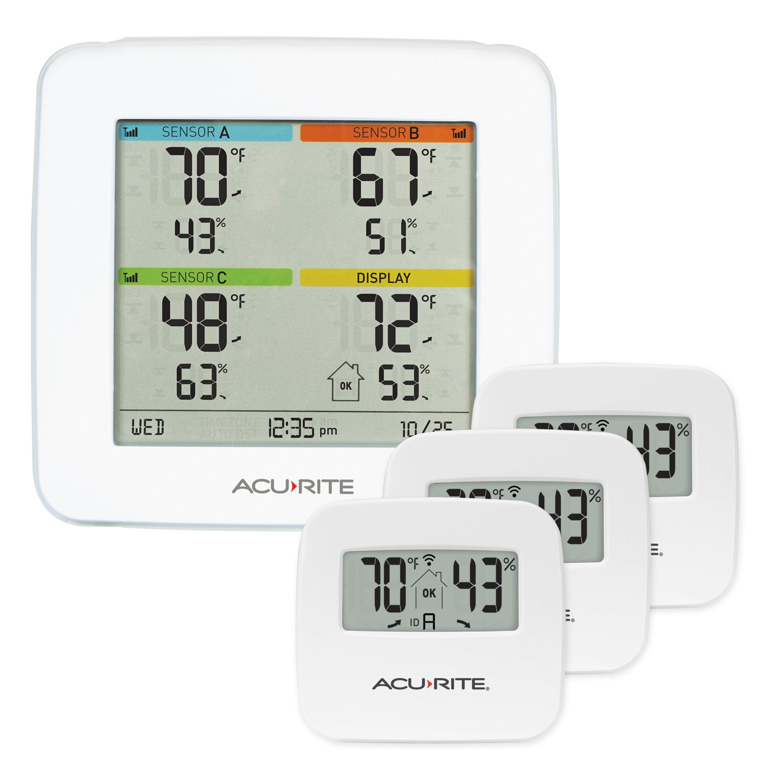 AcuRite 01095M Indoor Temperature & Humidity Station with 3 Sensors by AcuRite