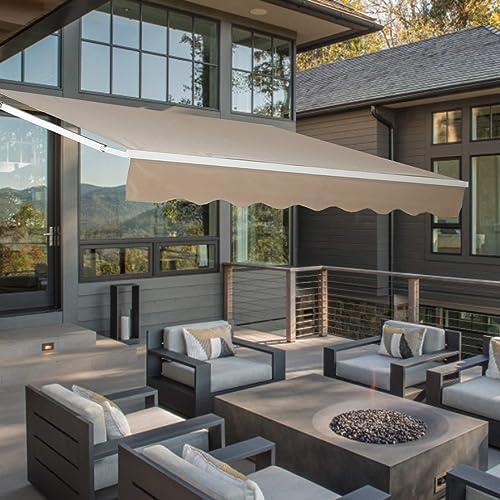 Aoxun 130×82 Inch Patio Awning Retractable Sun Shade Cover Outdoor Patio Canopy