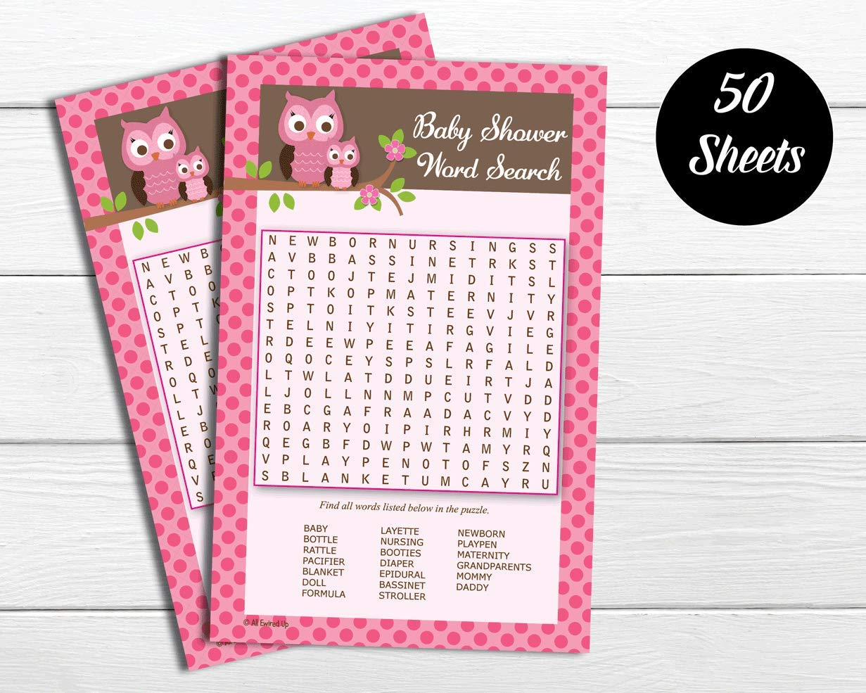 Baby Shower Game 50 Word Find//Search 50-sheets Pink Owl