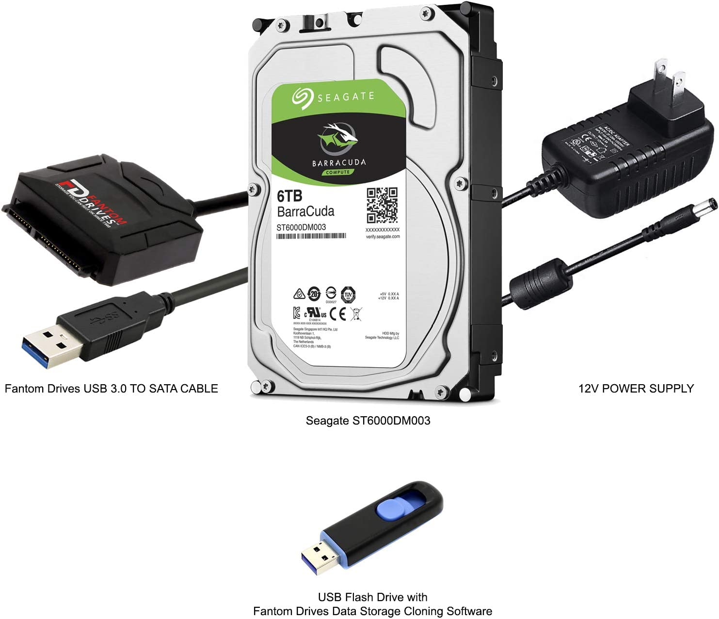 FD 6TB Hard Drive Upgrade Kit with Seagate Barracuda ST6000DM003 for PC and External HDD, Fantom Drives SATA to USB 3.0 Converter and Fantom Drives Cloning Software Inside USB Flash Drive