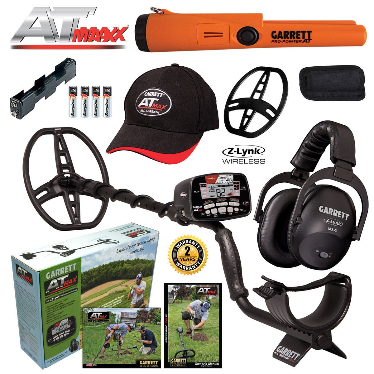 Garrett AT MAX Metal Detector, MS-3 Headphones and Pro-Pointer AT Pinpointer