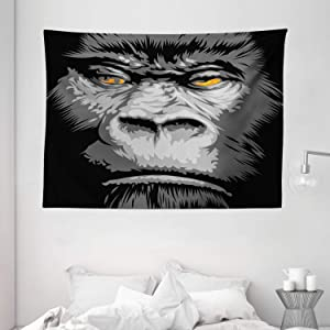 "Ambesonne Modern Tapestry, Close up Gorilla Portrait with Orange Eyes Zoo Jungle Animal Wild Money Graphic, Wide Wall Hanging for Bedroom Living Room Dorm, 80"" X 60"", Marigold Grey"