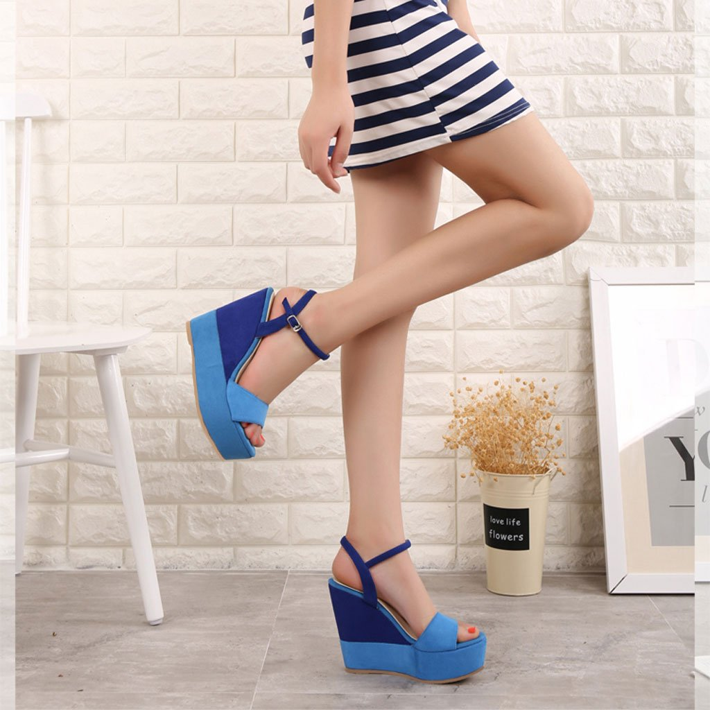 9aeed540 SANDALIAS de cuña Atractivas Azules Tacones de Plataforma Elegantes de Peep  Toe Zapatos de Mujer Ocasionales de Verano (Color : Blue 10cm, Tamaño :  36): ...
