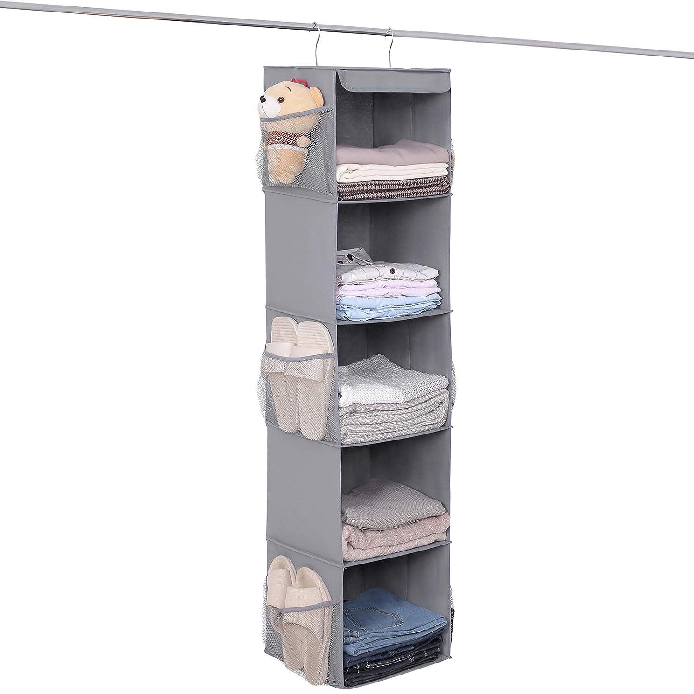 zapatos armario organizador con 9/laterales bolsillos de red armario/ /Organizador colgante de tela para ropa Songmics 452097/con 5/grandes compartimentos accesorios y m/ás gris 30/x 130/x 30/cm rch03