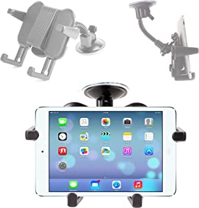 DURAGADGET Car Tablet Suction Mount with Adjustable Arms - for Apple iPad Air Wi-Fi/Wi-Fi + Cellular Space Grey Silver 16Gb 32Gb 64Gb 128GB (November 2013 Release)