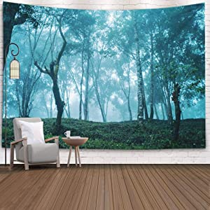 EMMTEEY Blue Wall Hanging Tapestry,Tapestries Décor Living Room Bedroom for Home Inhouse by Printed 80X60 Inches for Fog in The Wood Cold Morning Blue Tone Mist Forest