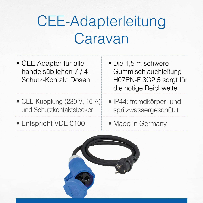 230 V, 16 A, 1,5 m, 3G2,5, IP44 AS-Schwabe 60486 H07RN-F Cable adaptador para exteriores