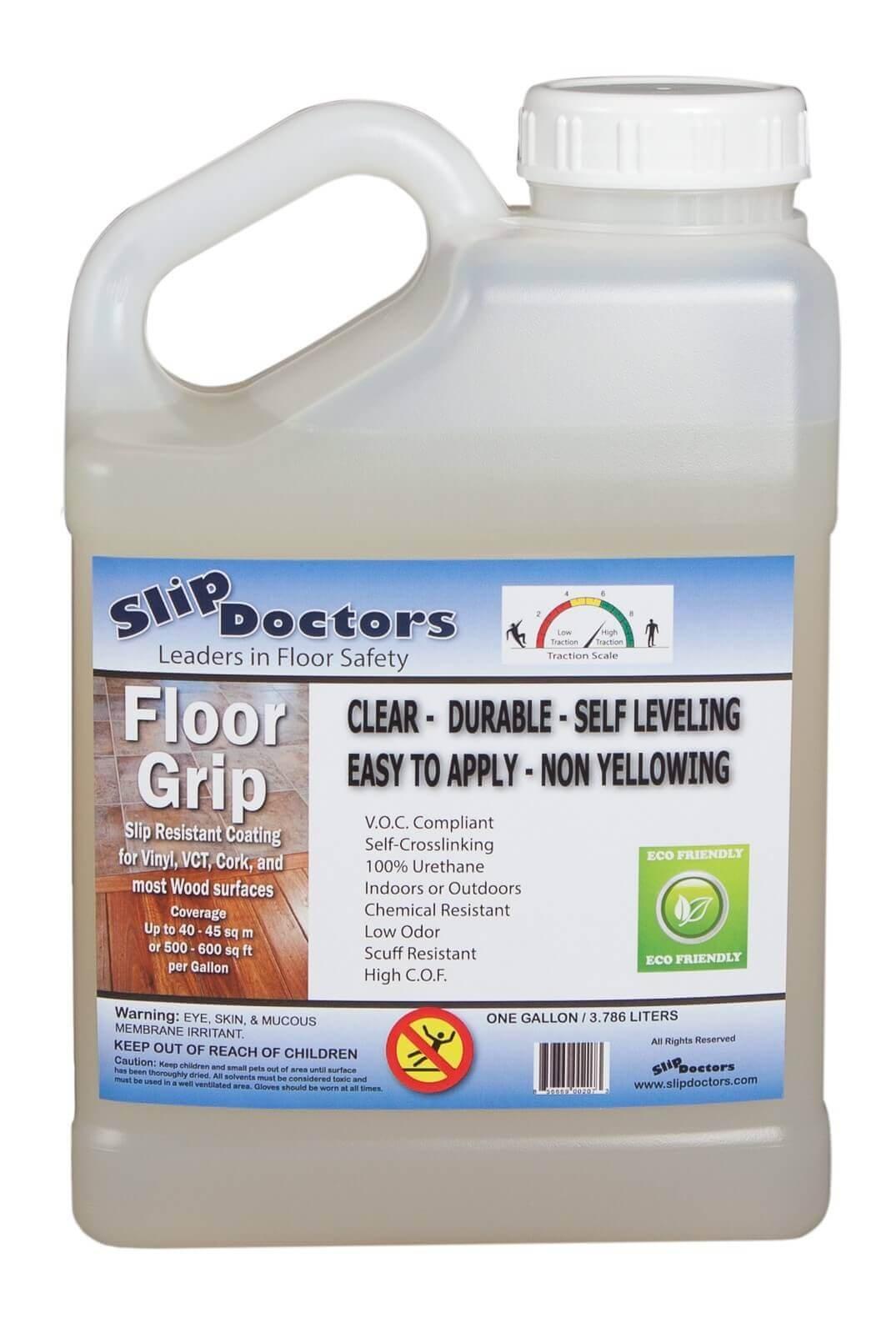 SlipDoctors Floor Grip Floor Treatment, 1 Gallon Bottle, Clear