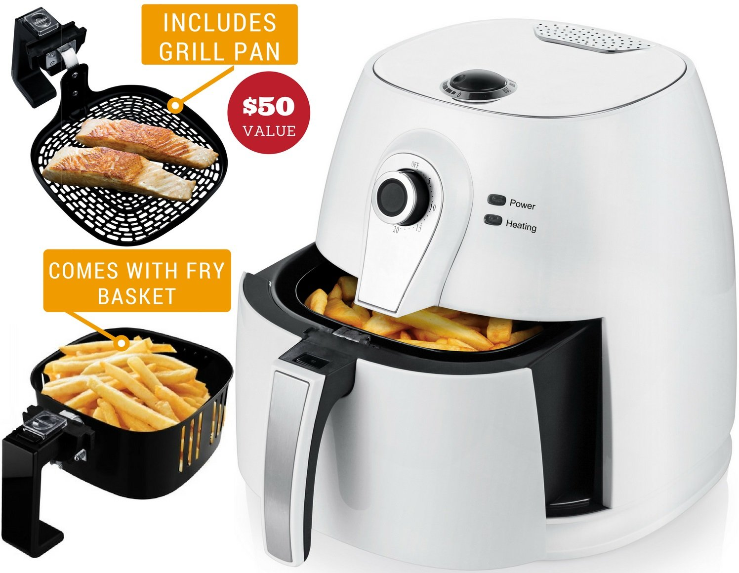 Ovente Electric Air Fryer with Timer, 3.2 Qt, 1400 Watts, Adjustable Temperature Controls, Includes Fry Basket and Pan, White (FAM21302W)