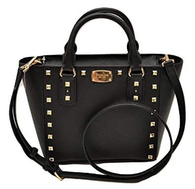 c64c6777cf996 Michael Kors Sandrine Stud Small Crossbody Saffiano Leather Bag Handbag ( Black)