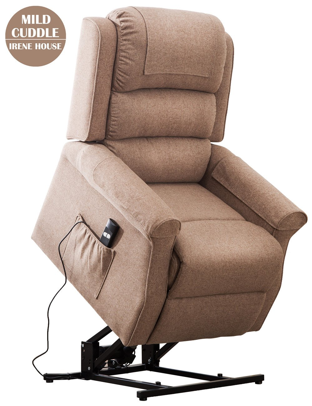 Irene House Modern Transitional Wall Hugger Lift Chair Recliners With Soft Linen (Brushed )Fabric(Light Brown)
